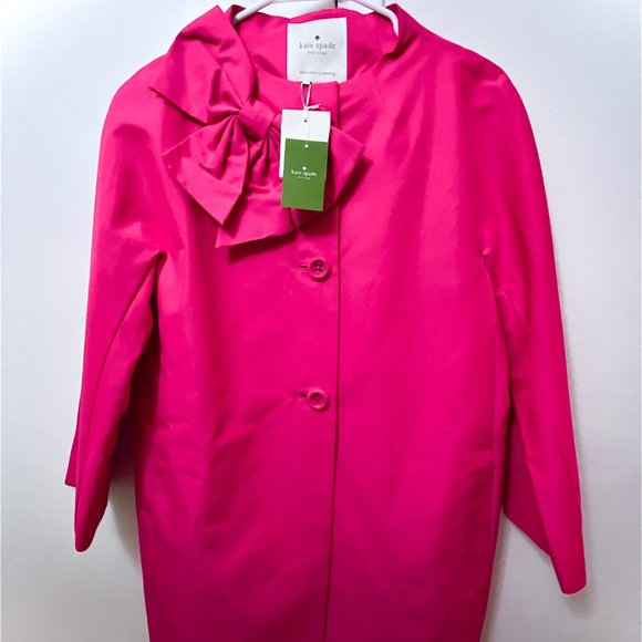 Kate Spade Pink Bow-Accented Kendall Coat w/ Tags